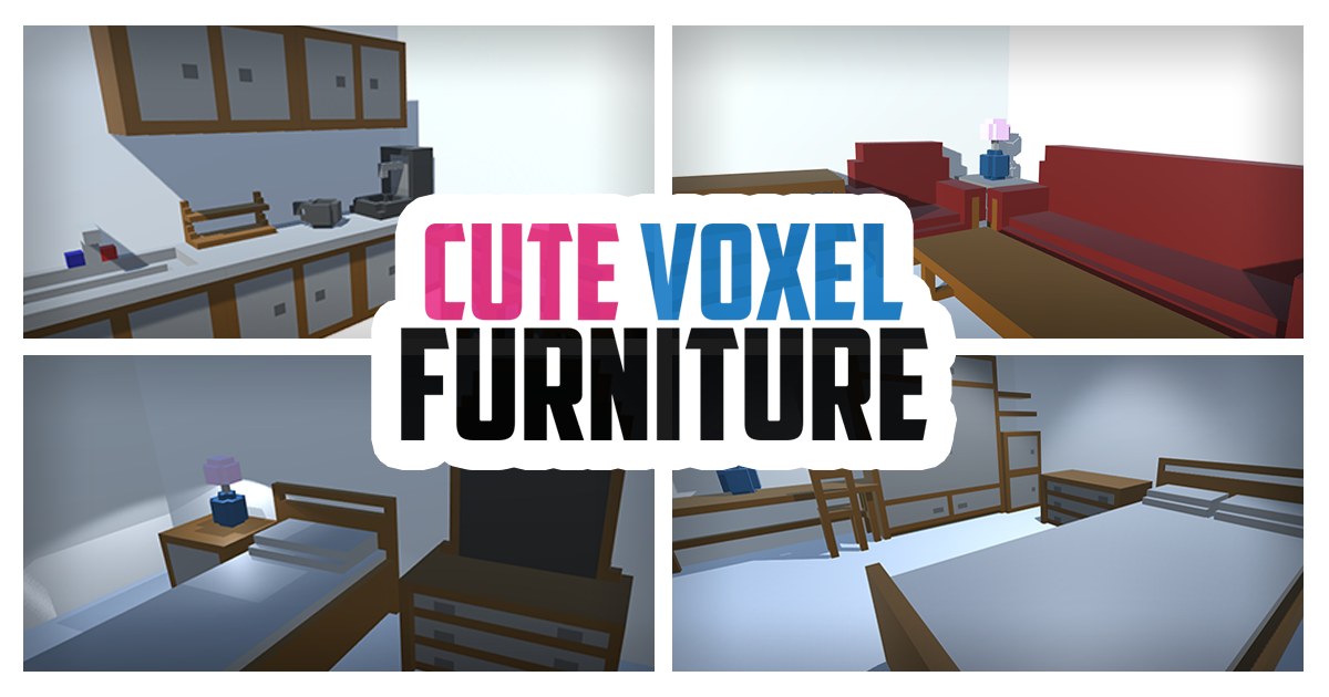 Cute Voxel Furniture for Unity3D