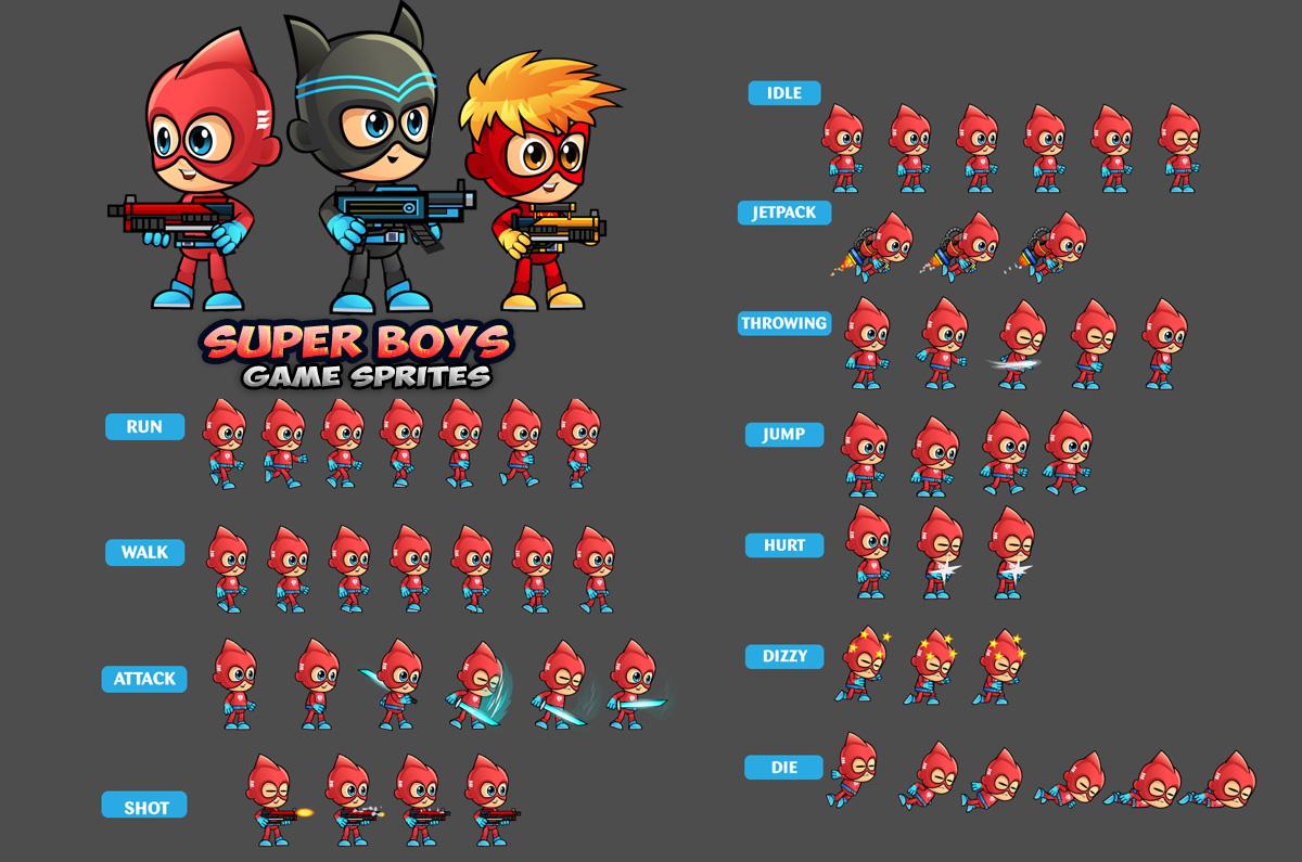 Super Boys 2D Game Sprites by DionArtworks  Super Boys 2D G...
