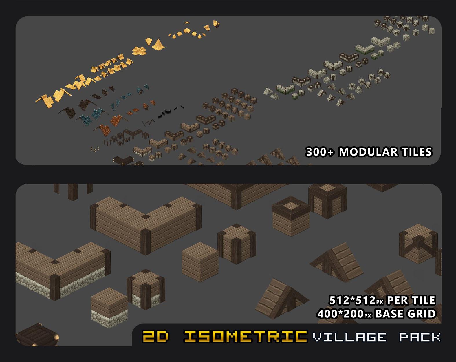 2D Isometric Village Tile Pack by Max Heyder Art (GoldenSkull)