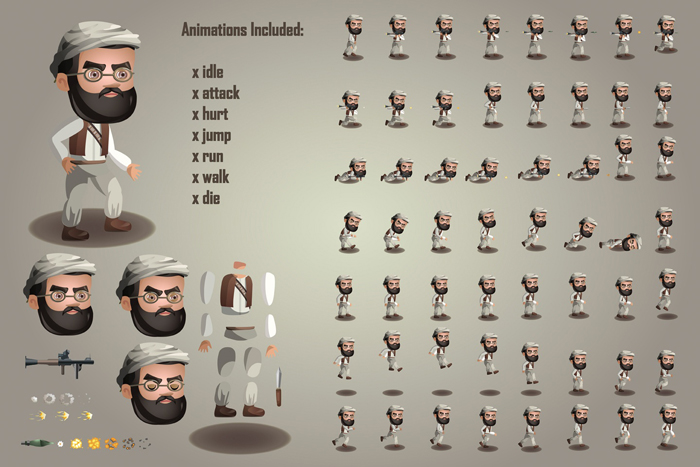 2D Terrorists Free Sprites by Free Game Assets (GUI, Sprite