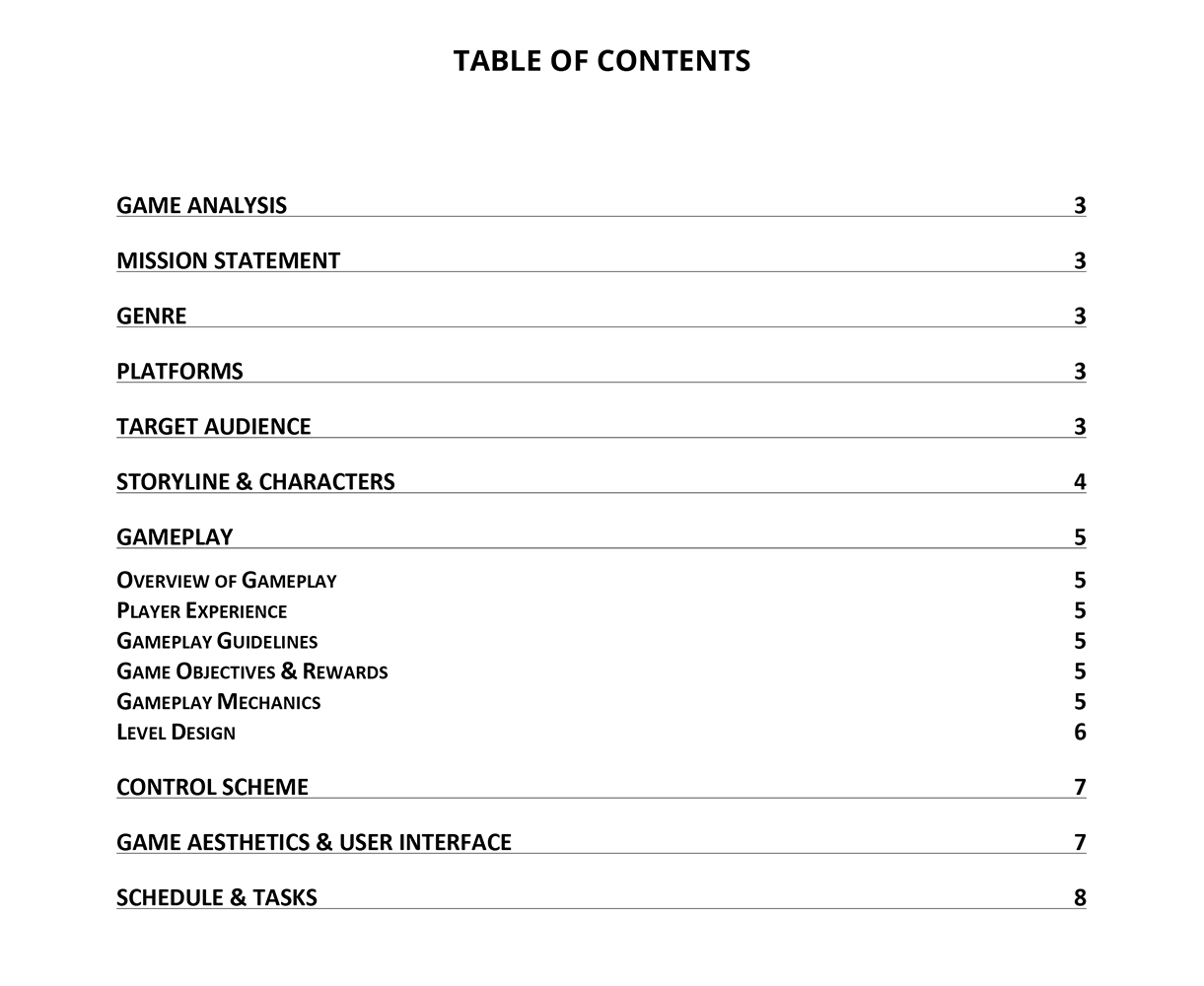 Game Design Document GDD Template By Vitalzigns - Game design doc template