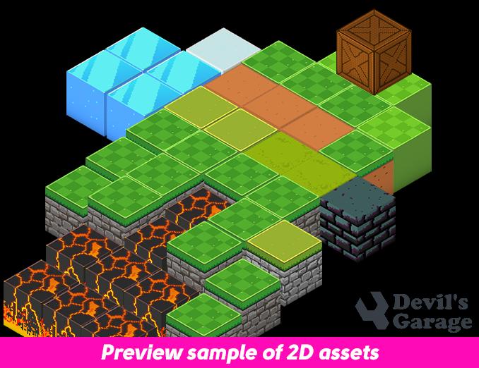 2D Pixel Art - Isometric Blocks - Free Sprites by DevilsWork