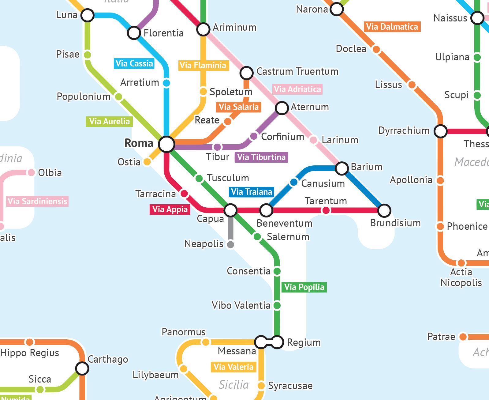Roman Roads As A Subway Map.Roman Roads Subway Map By Sasha Trubetskoy