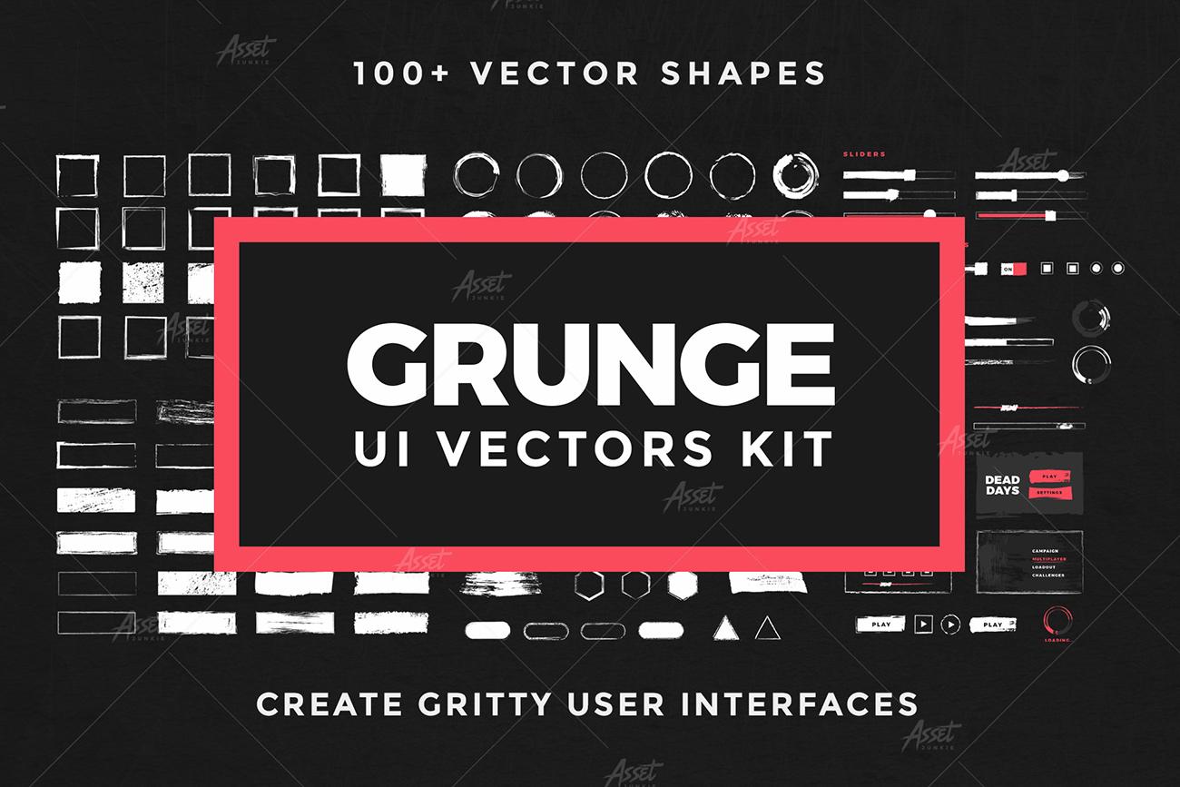 Grunge UI Vectors Kit