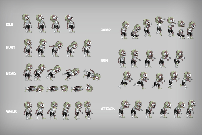 2d zombie sprite pack 2  3 pieces  by free game assets