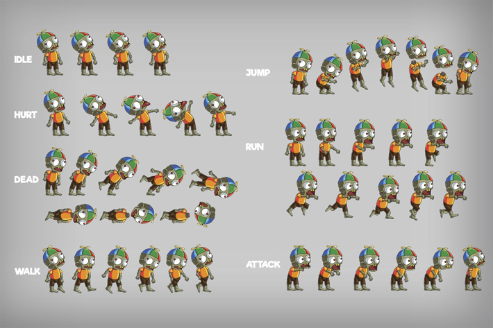 2D Zombie Sprite 8 by Free Game Assets (GUI, Sprite, Tilesets)