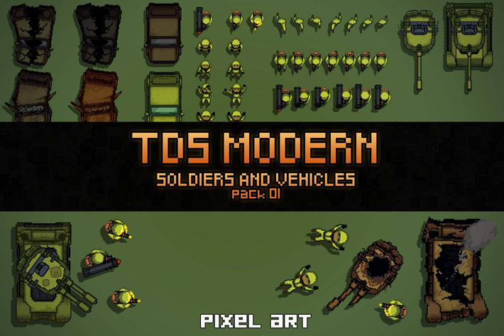 TDS Pixel Art: Soldiers And Vehicles Sprites by Free Game Assets ...