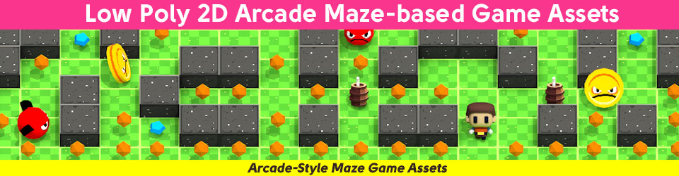 Low Poly 2D Arcade Maze-Based Game Assets