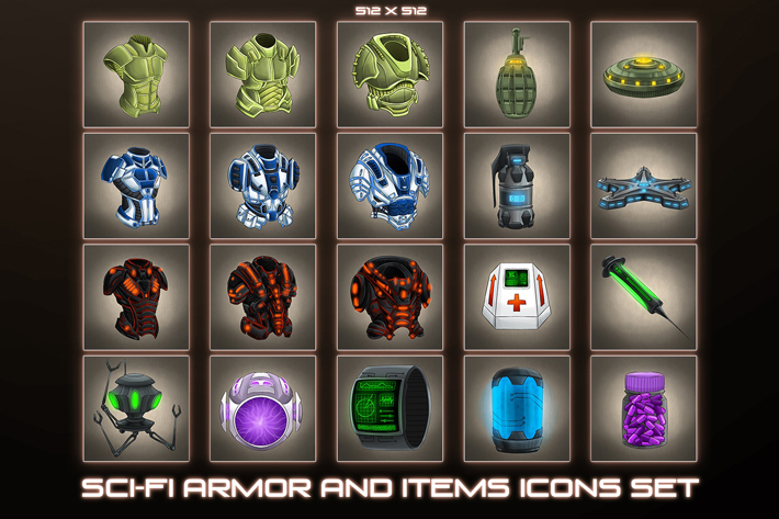 20 Sci-Fi Item and Armor Icons by Free Game Assets (GUI, Sprite, Tilesets)