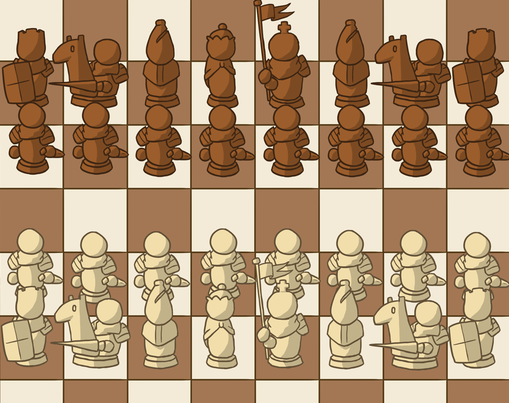 Illustrated Chess Pieces and Board Pack