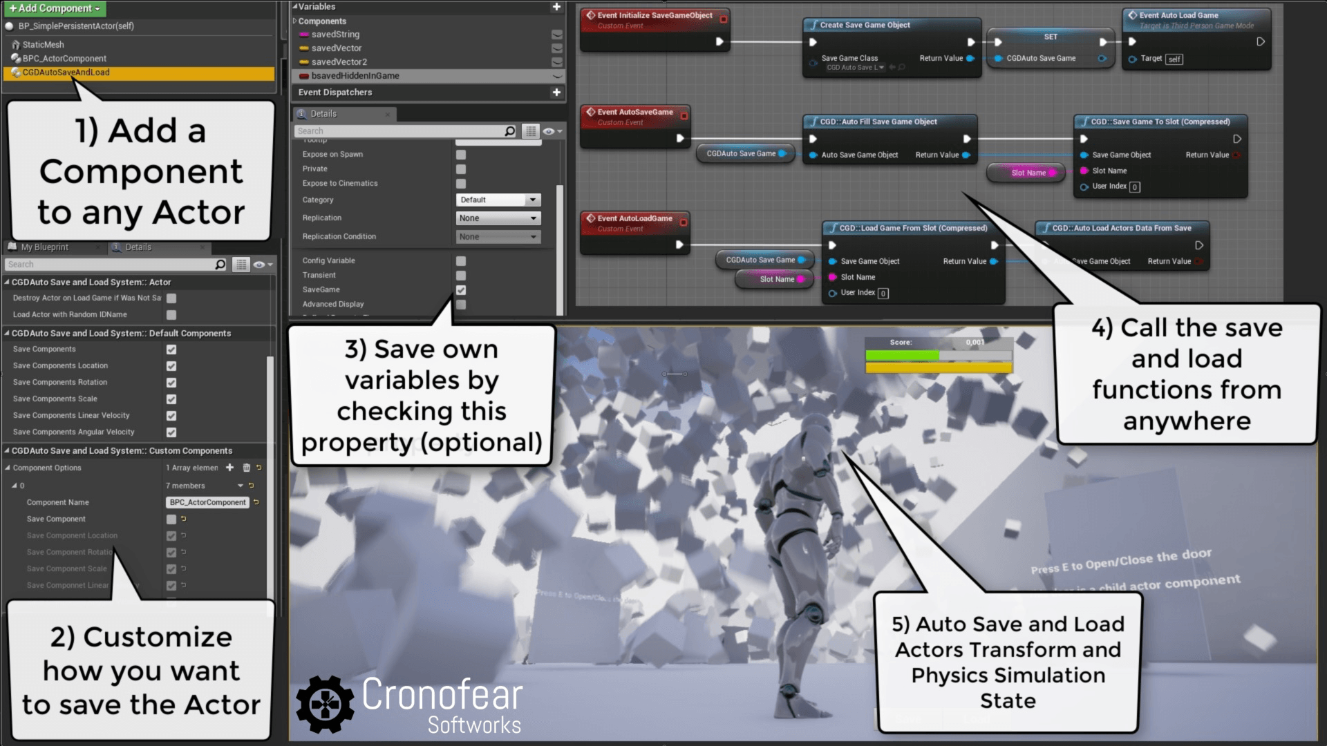 Unreal Engine 4 - Auto Save and Load System with Compression Plugin by  CronofearSoftworks