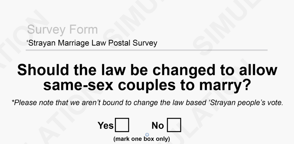 Australian Same Sex Marriage Voting Simulator