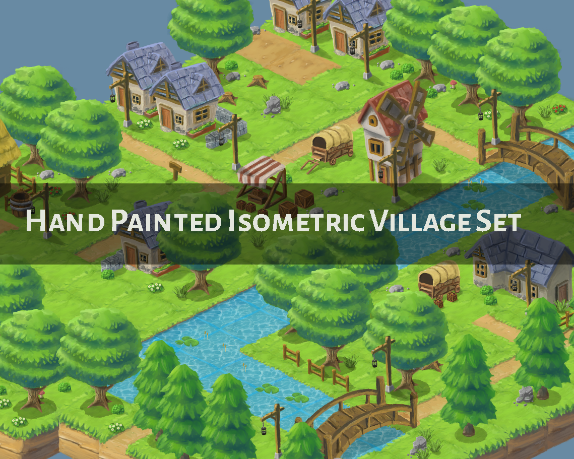 Isometric Small Village Set