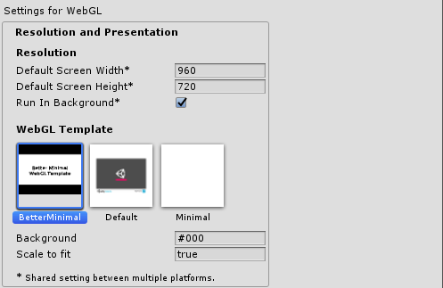 Unity) Better Minimal WebGL Template by Sean