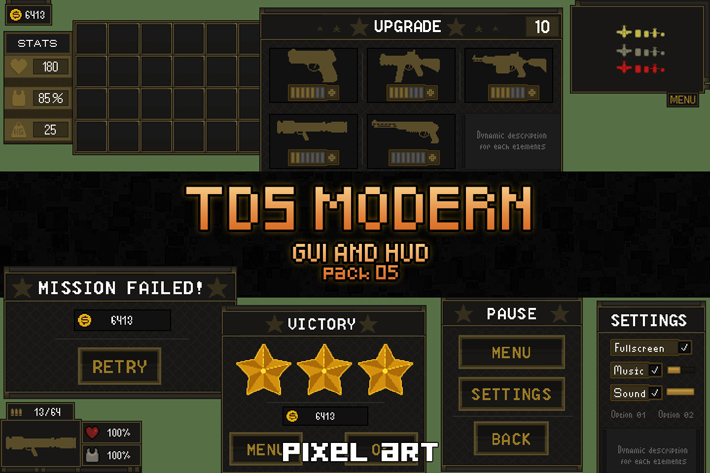 Free TDS Game UI Pixel Art by Free Game Assets (GUI, Sprite, Tilesets)
