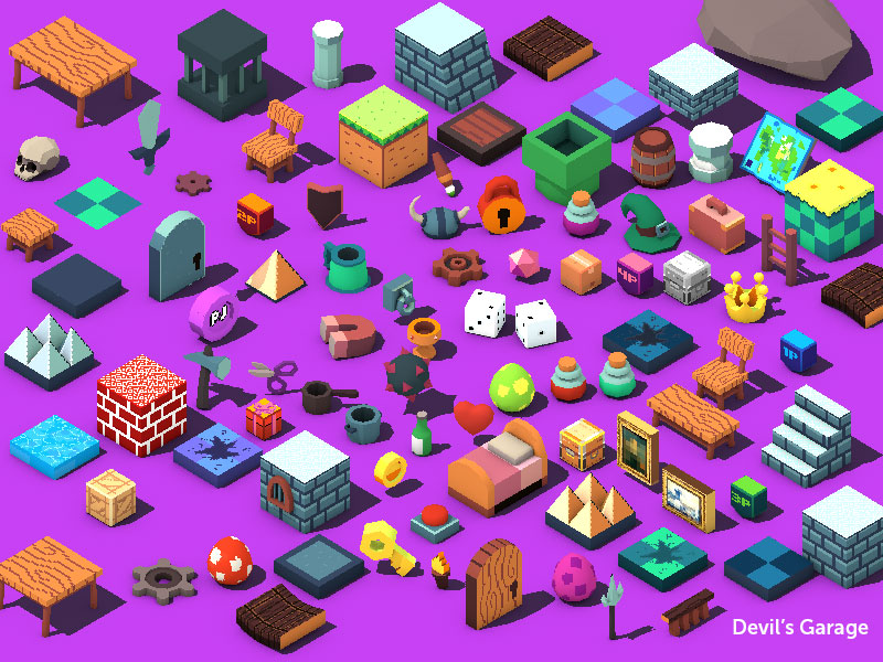 Low Poly 3D and Pixel 2D RPG Game Assets - Devil's Work shop by