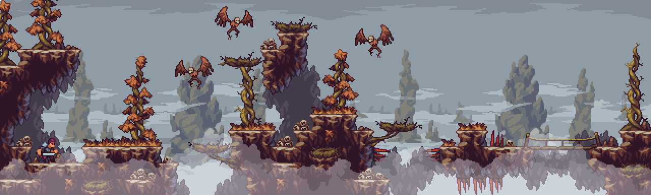 Foggy Cliffs - Fantasy Pixel Art Tileset