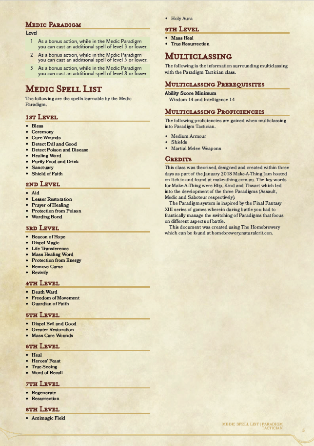 Paradigm Tactician - D&D 5E Homebrew Class by Harrison Metcalfe for