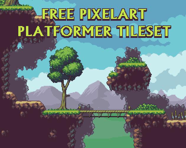 Free Pixelart Platformer Tileset by aamatniekss
