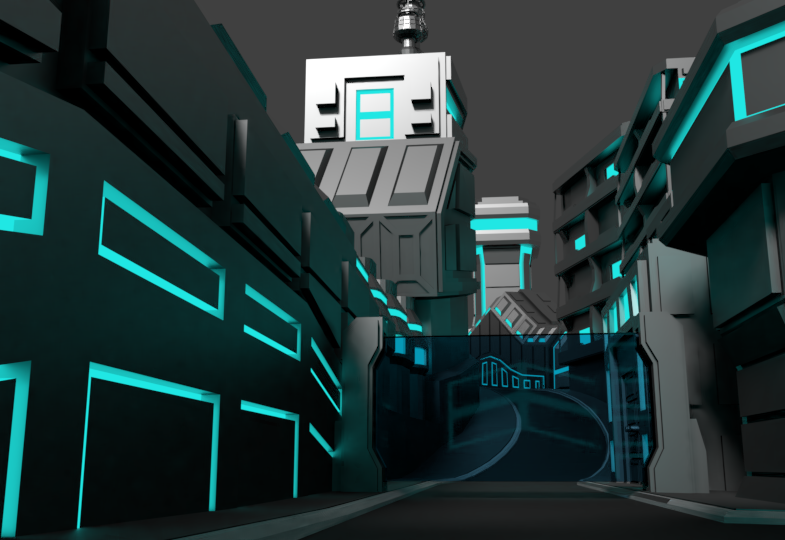 low poly futuristic city assets by niko-3d-models
