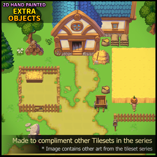 2D Hand Painted - Extra Objects Tileset by Daniel Thomas