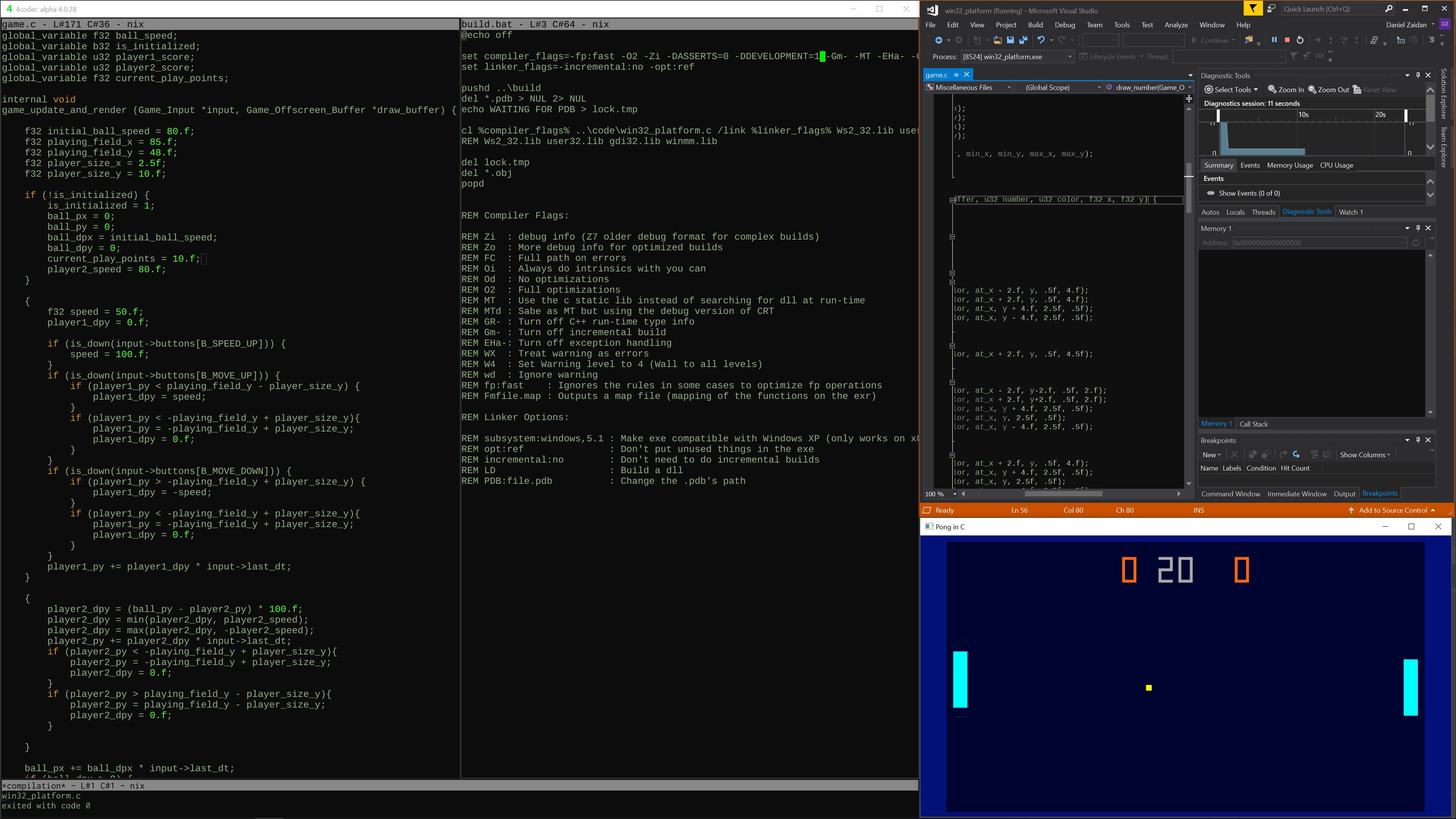 Pong in C with Source Code! - Pong in C (open source) by Dan Zaidan