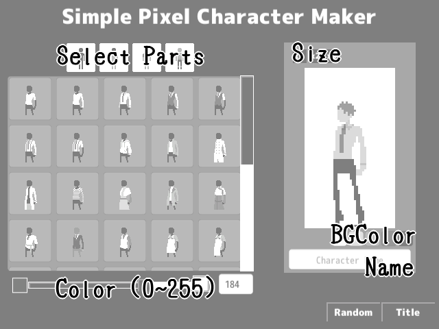 Simple Pixel Character Maker by dcd3b2