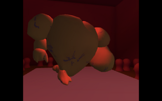red-lit screenshot of early creature