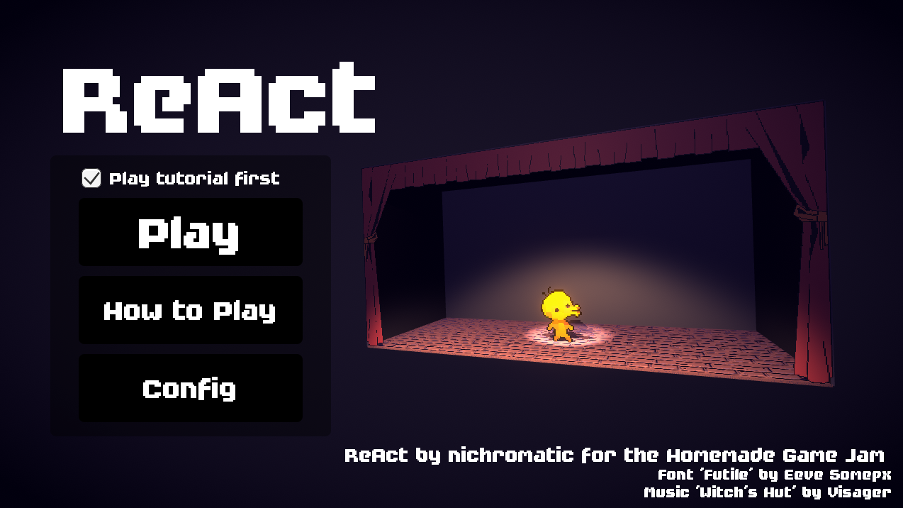 ReAct by nichromatic for Homemade Game Jam - itch io