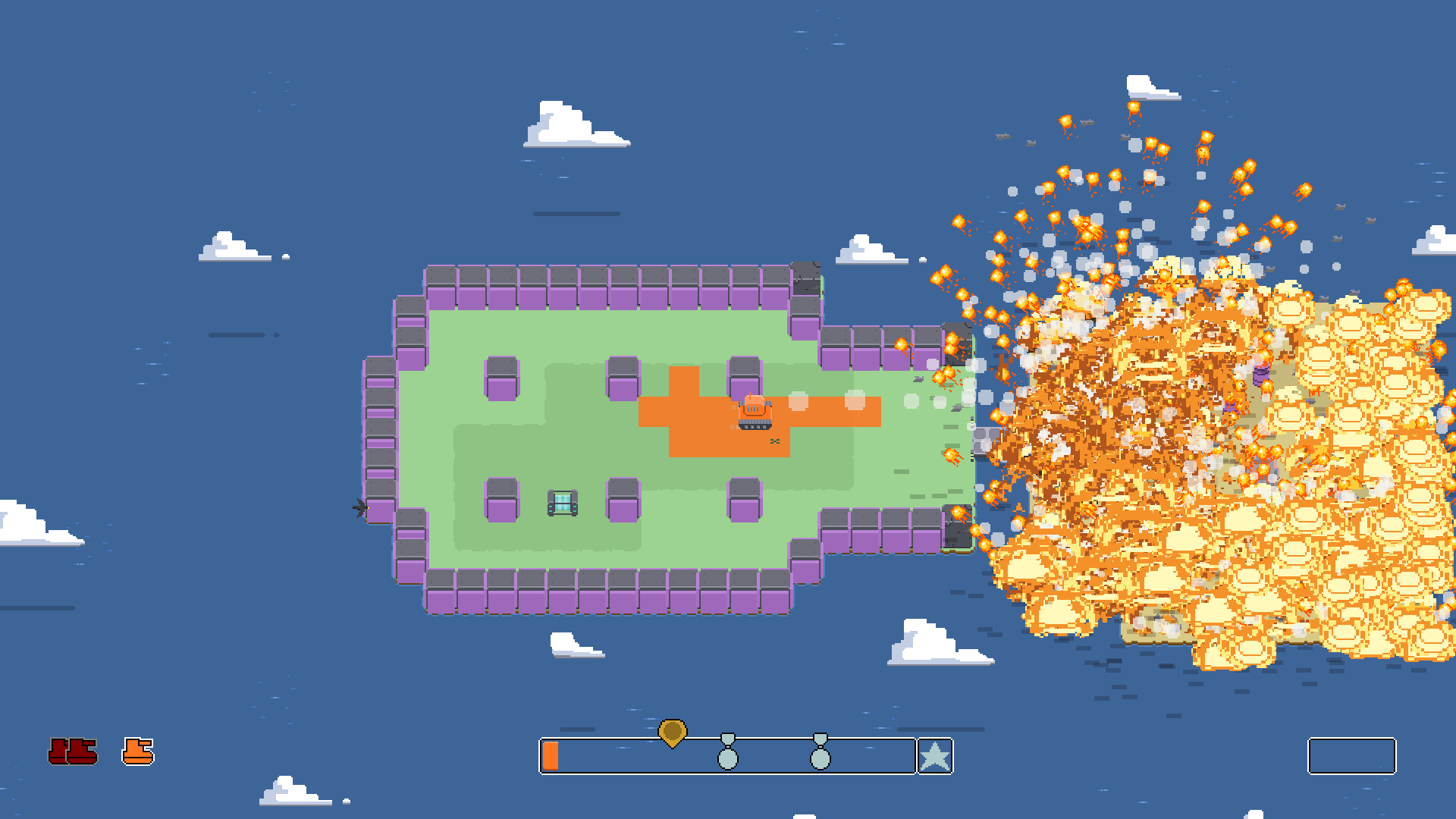 A screenshot of Territory showing one of the aforementioned unnecessarily large explosions.