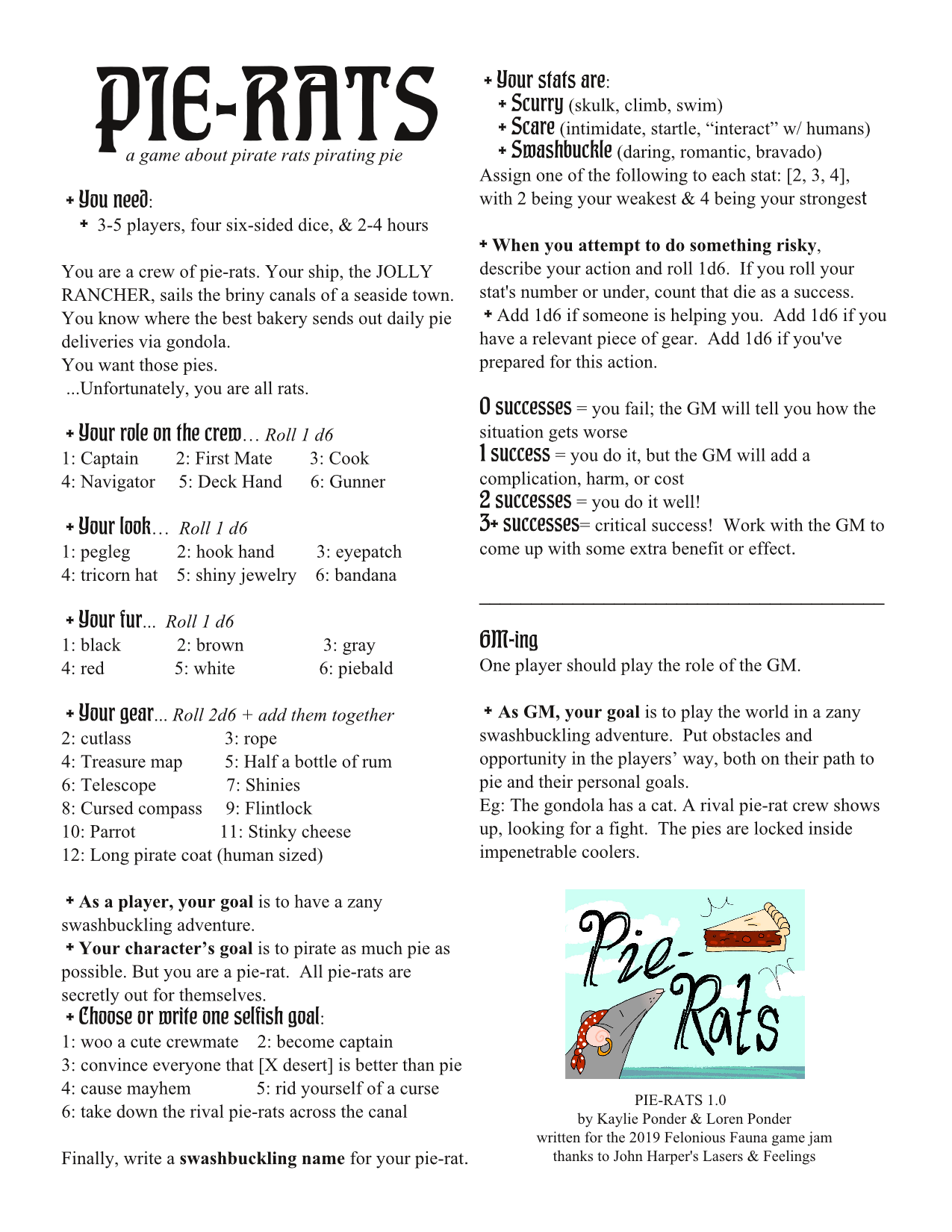 PIE-RATS by Ponder Games for Felonious Fauna 2k19! - itch io