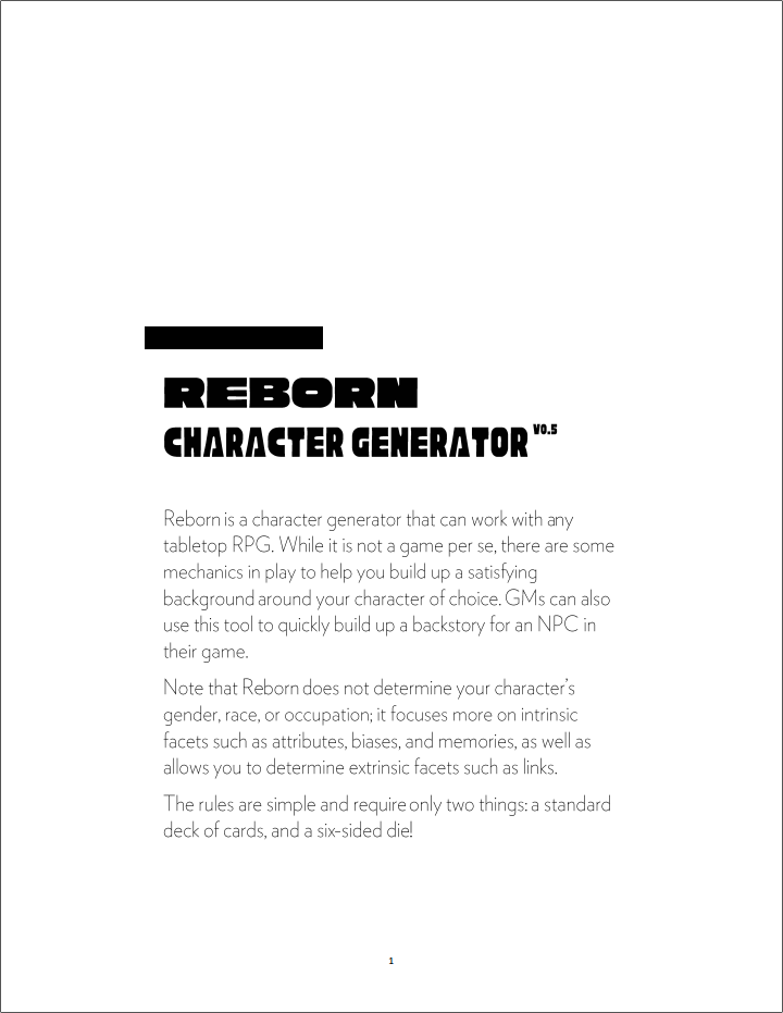 Reborn - A Tabletop RPG Character Generator by momatoes for Roll To