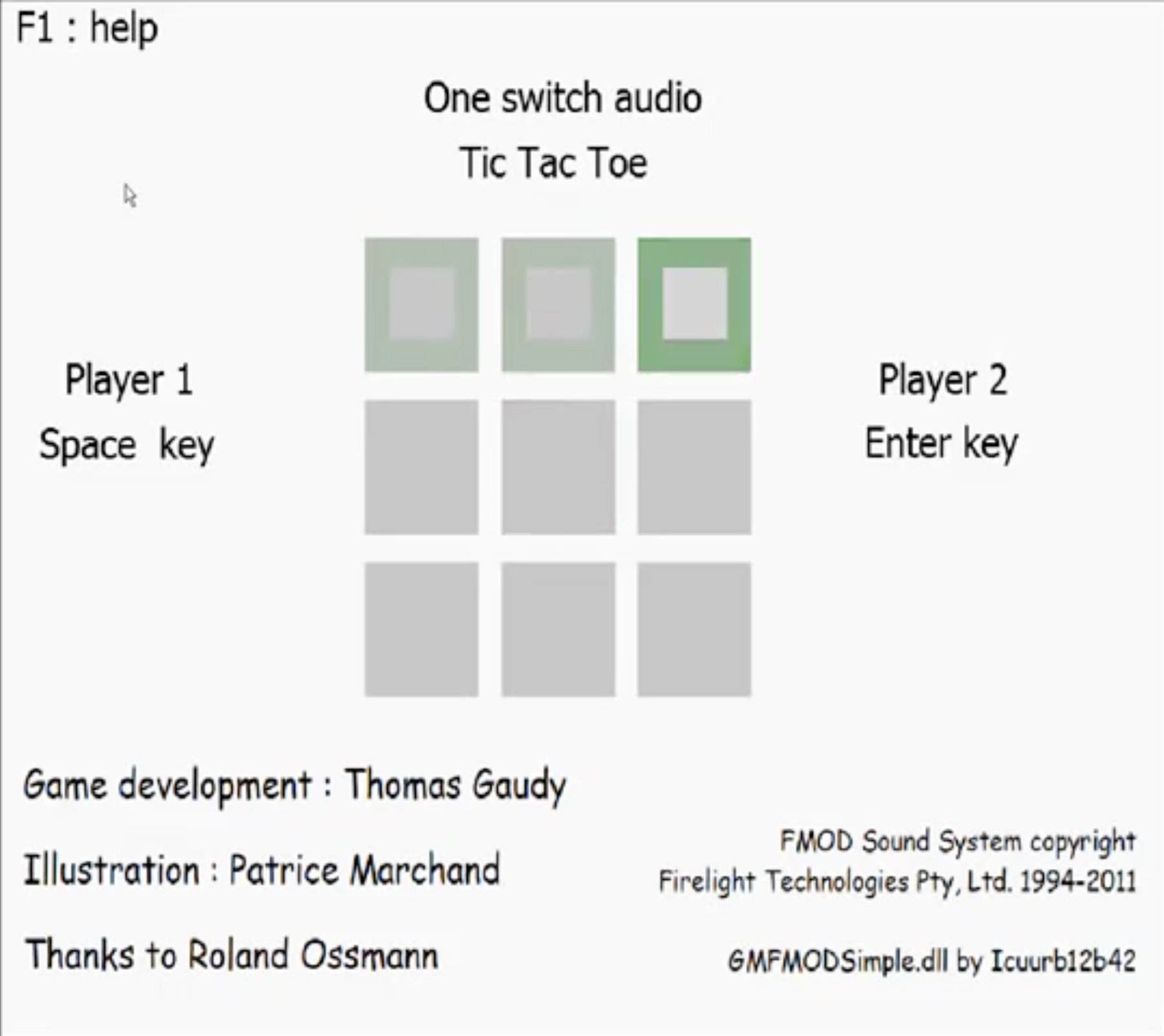One Switch Audio Tic Tac Toe