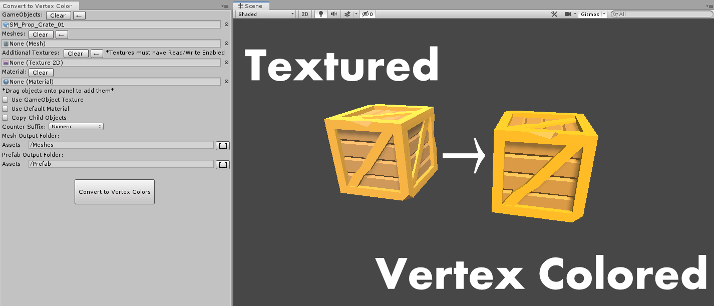Convert To Vertex Color for Unity by michaelsquiers