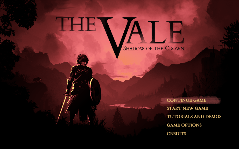 The splash page for The Vale: Shadow of the Crown. A dark, shadowy woman holding a sword and shield stands over a silhouetted valley.