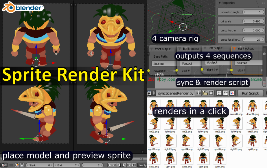 Sprite Render Kit - for blender 3d - 60% off + example animated blend by  blurymind