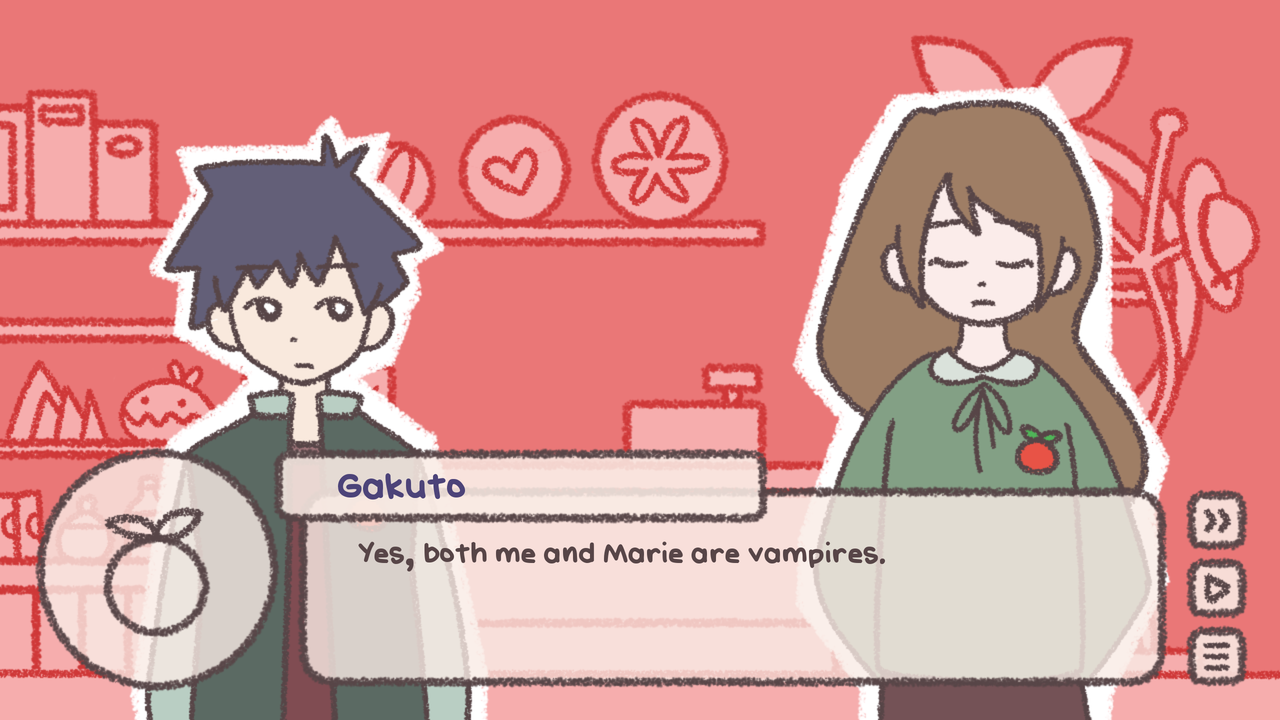 a screenshot of my vampire game showing two vampire characters
