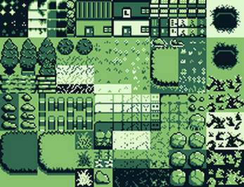 Banner displaying the gameboy sprite sheet from Itch.io