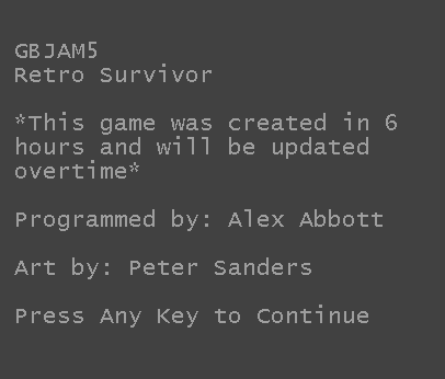 GBJAM5 Retro Survivor