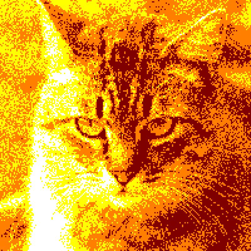 ginger cat in yellow orange palette on amstrad