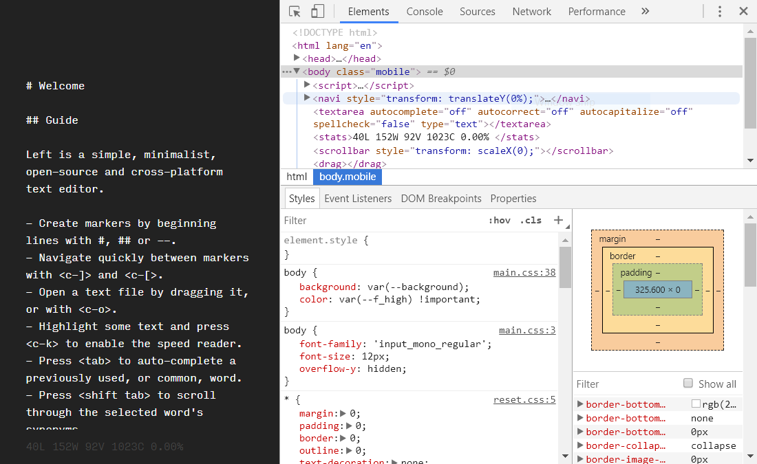 Showing chrome developer tools - Left community - itch io