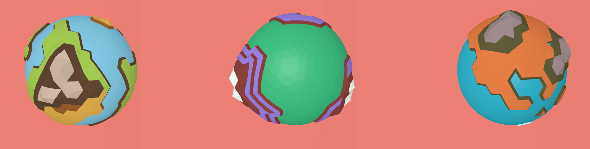 Low Poly Stylized Planets