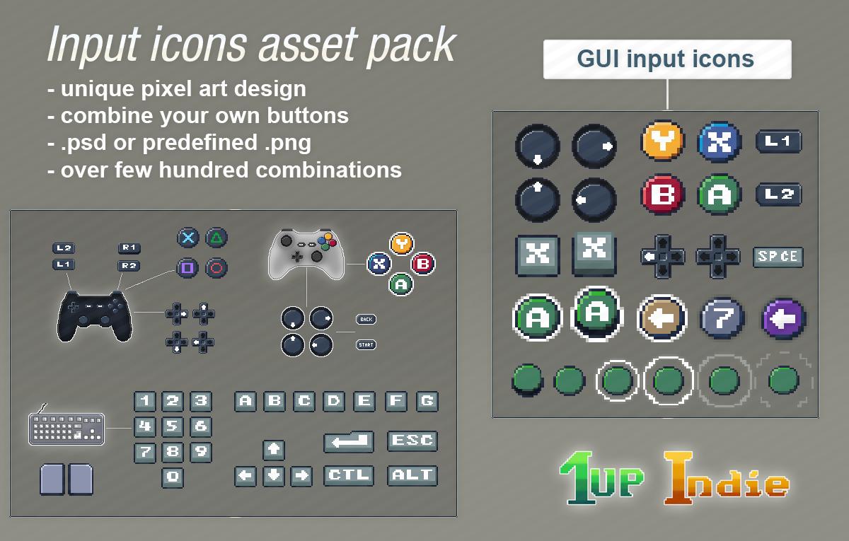 Pixel art input icons pack