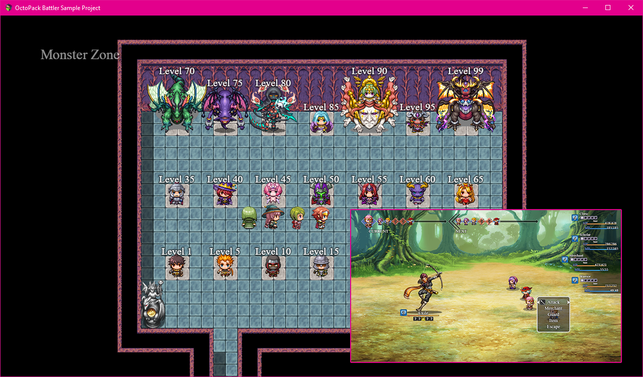 OctoPack Battler Sample Project for RPG Maker MV by Olivia, Yanfly