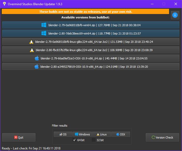 Screenshot from the UI