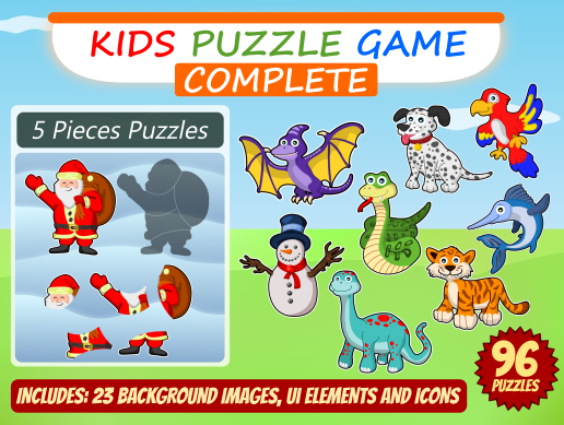 Kid Puzzle Game 2D Asset Mega Pack - 4 Games
