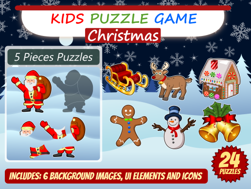 Kid Puzzle Game 2D Christmas Asset Pack