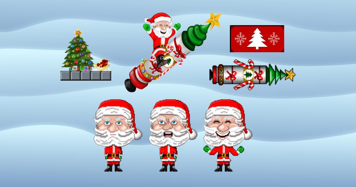 Pixel Art Character 2D: Rocket Santa