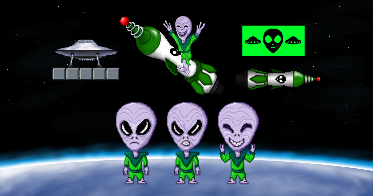 Pixel Art Character 2D: Rocket Alien