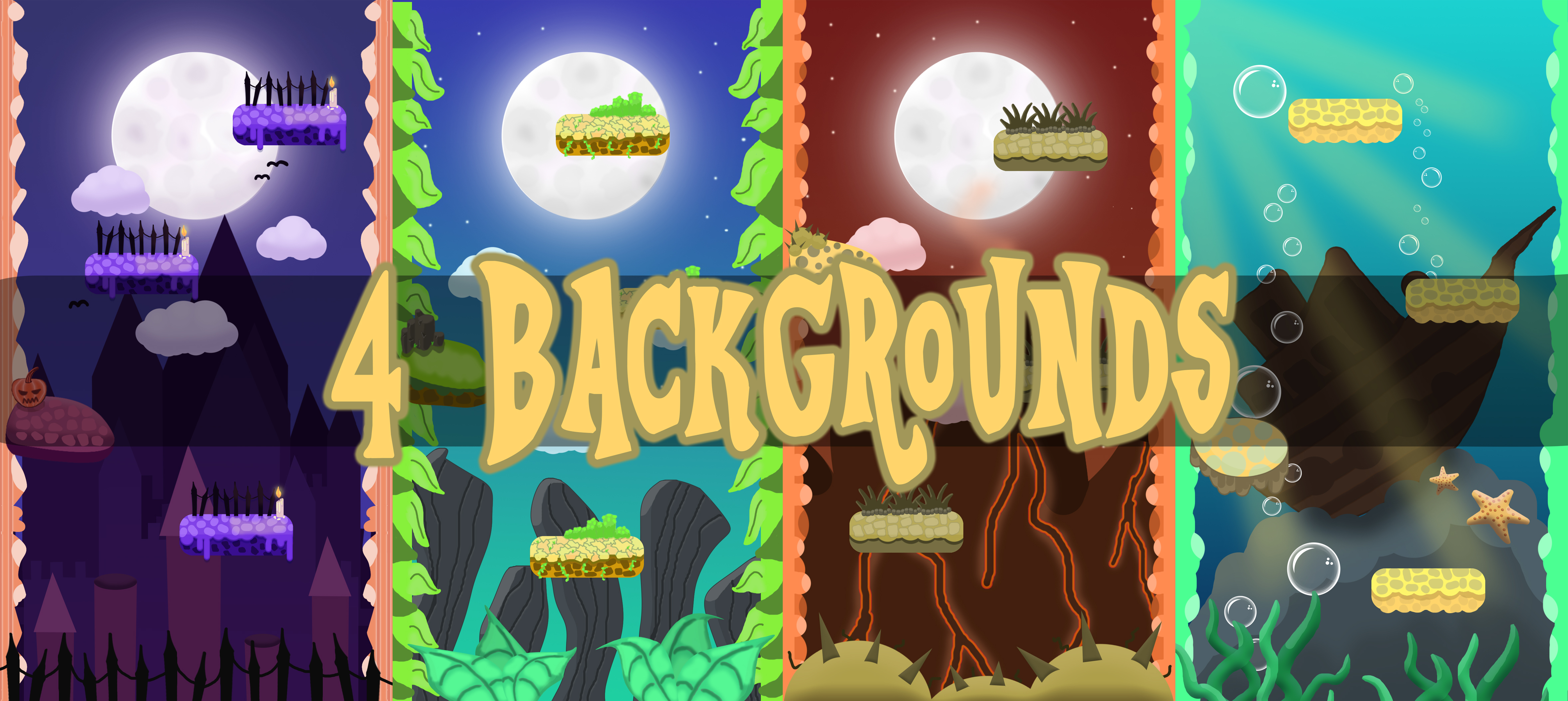 FREE 4 VERTICAL 2D GAME BACKGROUNDS
